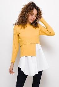 LOVIE LOOK bi-material sweater with bottom shirt