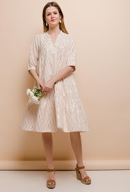 LOVIE LOOK kjole med gyldne mønstre