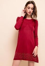 LOVIE LOOK strikket kjole med rhinestones