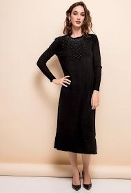 LOVIE LOOK strikket midi-kjole med rhinestones