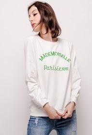 """LOVIE LOOK """"mademoiselle parisienne"""" embroidered sweatshirt"""