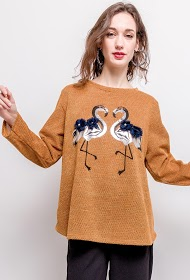 LUCKY 2 sweater met roze flamingo's