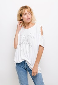 LUCKY 2 loose fit t-shirt with rhinestones