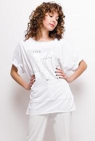 LUCKY 2 t-shirt mit glänzendem aufdruck