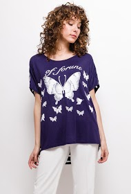 LUCKY 2 t-shirt mit schmetterling