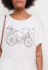 LUCKY 2 t-shirt with printed bike and rhinestones