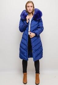 MACMAX long hooded coat with fur