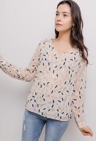 M&G MONOGRAM feather print blouse