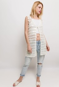 MISSKOO crochet sleeveless vest with sequins