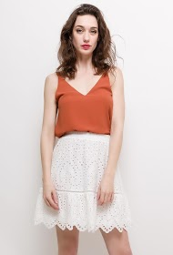 MISSKOO embroidered and perforated skirt