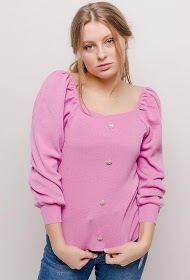 MISSKOO sweater med ballon ærmer