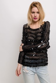 MISSKOO crochet sweater with sequins