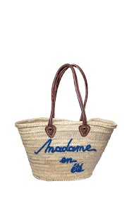 MOGANO summer wicker tote, with phrase, leather handles
