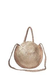 MOGANO large round bag in burlap and dorrure