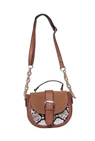 MOGANO small patchwork bag made of suede and synthetic python material