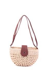 MOGANO small openwork raffia bag, long imitation leather handle