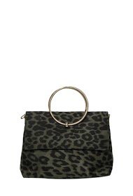 MOGANO suede bag has a wrist ring or worn across
