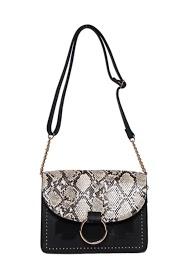 MOGANO rectangular rigid bag with round ring and python flap