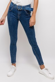 MONDAY PREMIUM skinny jeans with belt and eyelets