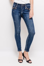 MONDAY PREMIUM slim jeans with rhinestones