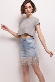 MONDAY PREMIUM falda vaquera con lentejuelas