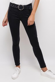 MONDAY PREMIUM skinny pants with belt and eyelets