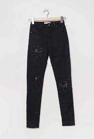 MONDAY PREMIUM worn pants with rhinestones