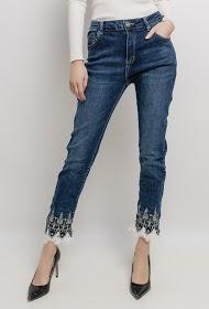 MOZZAAR  FOREVER jean avec broderie et dentelle