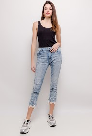 MOZZAAR  FOREVER jeans with embroidered ankles