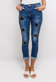 MOZZAAR  FOREVER jean with stars in sequins