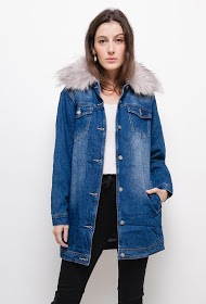 MOZZAAR  FOREVER denim coat with fur