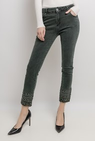 MOZZAAR  FOREVER pants with embroidered ankles and rhinestones