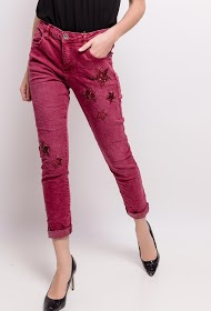 MOZZAAR  FOREVER pants with star sequins