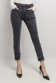 MOZZAAR  FOREVER pants with rhinestones and lace