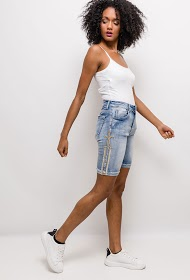 MOZZAAR  FOREVER denim shorts with rhinestones