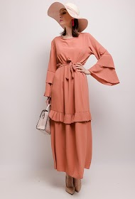 MY STYLE long dress with pleated frills