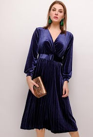MY STYLE geplooide midi-jurk
