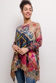 NESLAY paris print tunic with lace border