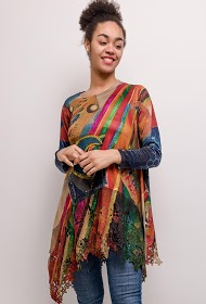 NESLAY printed tunic with lace border