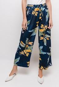 NOÉMIE & CO calças largas com flores impressas