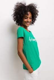 "NOÉMIE & CO embroidered t-shirt ""be happy"""