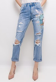 QUEEN HEARTS embroidered jeans