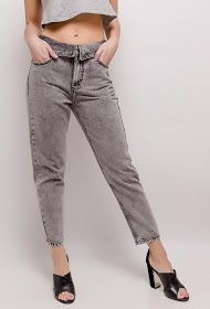REDIAL mom jeans with lapel waist