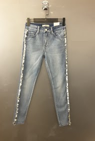 REDIAL skinny jeans with side sequin band