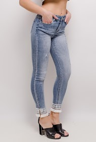 REDIAL skinny jeans with fringed trim