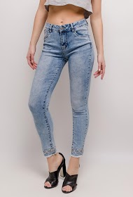 REDIAL skinny jeans with embroidery and rhinestones