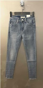 REDIAL skinny jeans with butterfly lace bottom legs