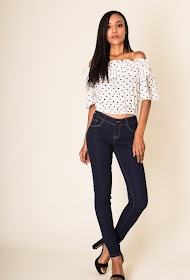 SIMPLY CHIC dunkle röhrenjeans mit niedriger taille