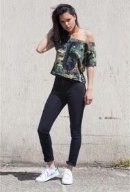SIXTH JUNE crop top zesde 6 juni camouflage vert 1853v