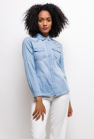 SOFTY chemise en jeans brodee strass